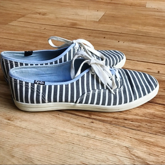Keds Womens Graywhite Striped Canvas